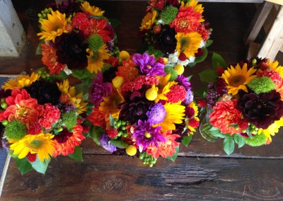 Brightly colored bouquets